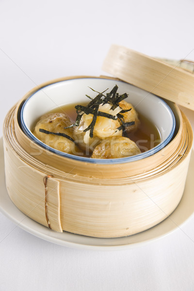 Bambusa parowiec żywności drewna restauracji śniadanie Zdjęcia stock © epstock