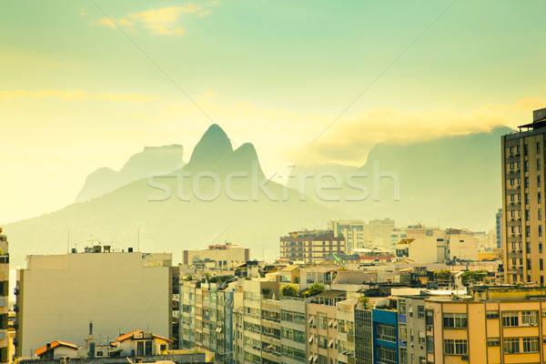 Városi tájkép Rio de Janeiro Brazília kilátás lakóövezeti Stock fotó © epstock