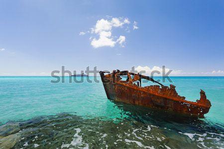 судно крушение пляж ржавые мирный Карибы Сток-фото © epstock