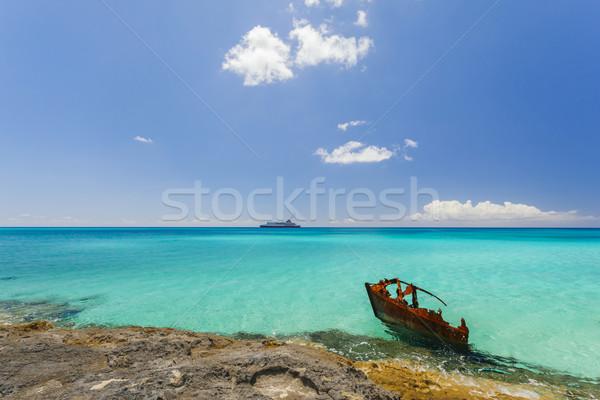 遠く 画像 船 セーリング 海岸 ストックフォト © epstock