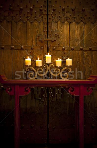 свечей сжигание таблице старые деревенский двери Сток-фото © epstock