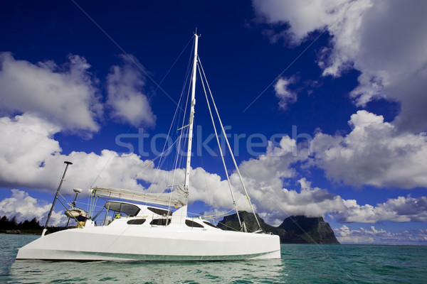 Stock photo: White Katamaran on water