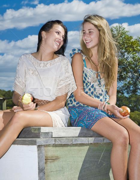 Foto stock: Dos · ninas · comer · manzanas · arroyo