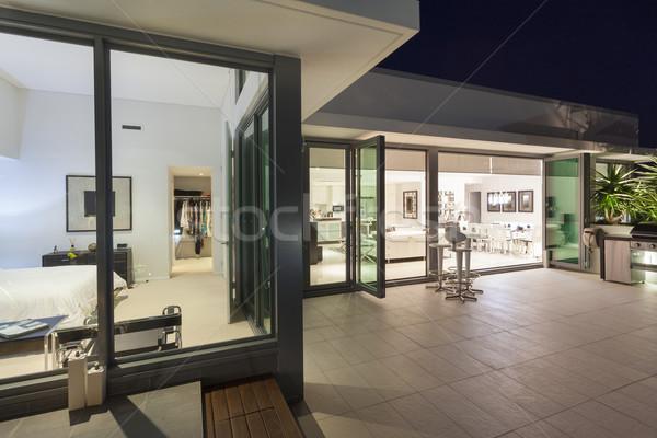 современных балкона закат роскошь пентхауз дома Сток-фото © epstock