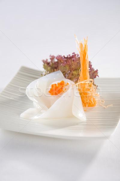 ストックフォト: タコ · 寿司 · プレート · 務め · 白 · プレート