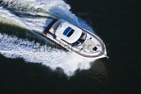 Közelkép jacht légi rövid elegáns fehér Stock fotó © epstock