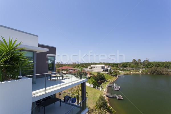 Kicsi erkély égbolt ház épület otthon Stock fotó © epstock