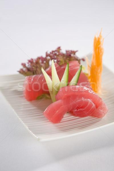 Ton balığı sashimi plaka sushi hizmet beyaz Stok fotoğraf © epstock
