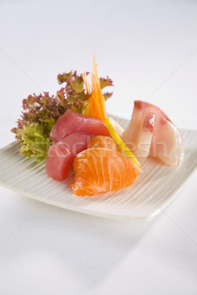 Saumon thon sashimi plaque servi blanche Photo stock © epstock