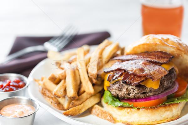 Spek hamburger vlees sandwich eten Stockfoto © erbephoto