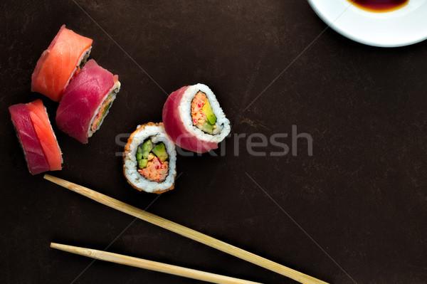 Sushi eetstokjes negatieve ruimte eten Stockfoto © erbephoto