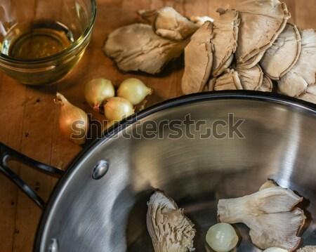 Oester champignons parel uien bereid koken Stockfoto © erbephoto