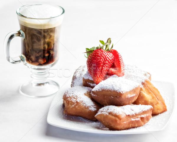 Koffie plaat eigengemaakt melk ontbijt Stockfoto © erbephoto