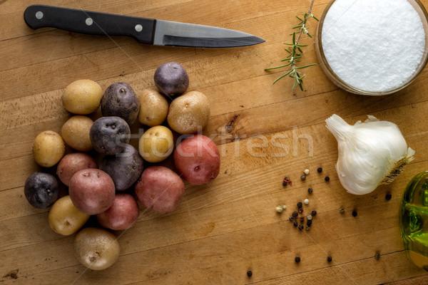Baby ingrediënten kleurrijk knoflook specerijen Stockfoto © erbephoto