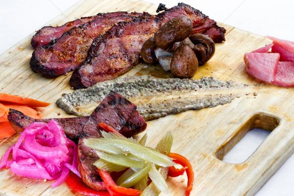 Gerookt boord eten maaltijd hartig Stockfoto © erbephoto