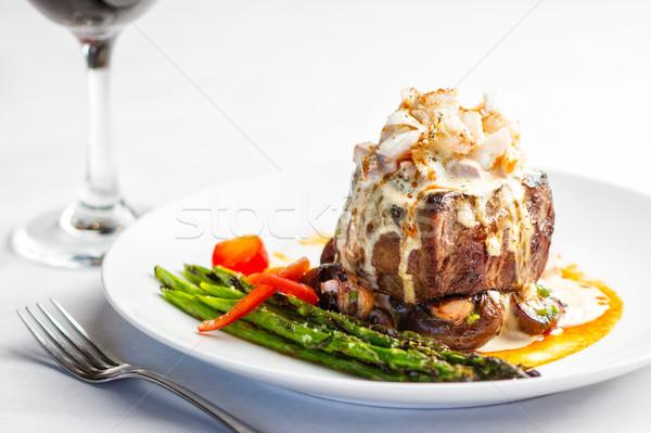Biefstuk maaltijd krab vlees eten Stockfoto © erbephoto