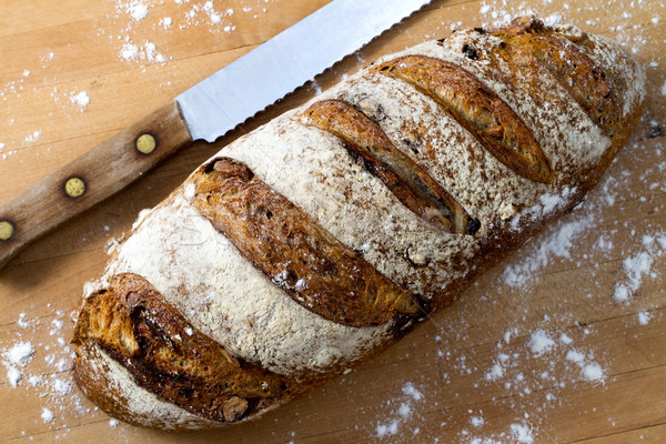 Walnoot brood vers brood mes Stockfoto © erbephoto