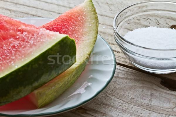 Watermeloen zout picknicktafel voedsel natuur Stockfoto © erbephoto
