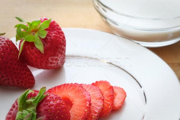 Aardbeien suiker geheel rijp witte Stockfoto © erbephoto