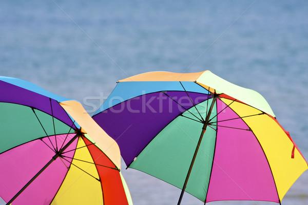 Strand parasols water zon zomer hot Stockfoto © erbephoto