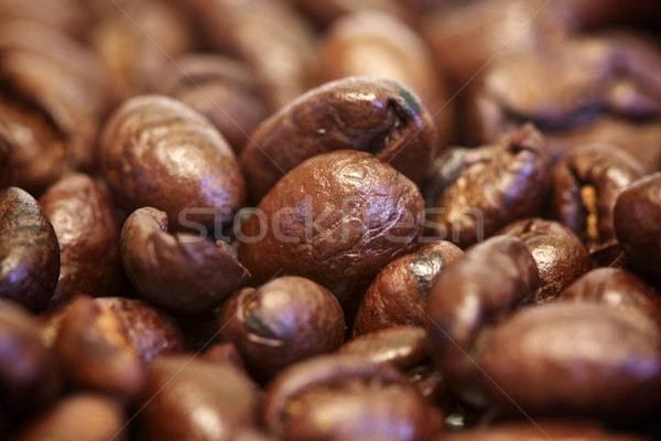 Koffiebonen macro drinken cafe zwarte donkere Stockfoto © erbephoto