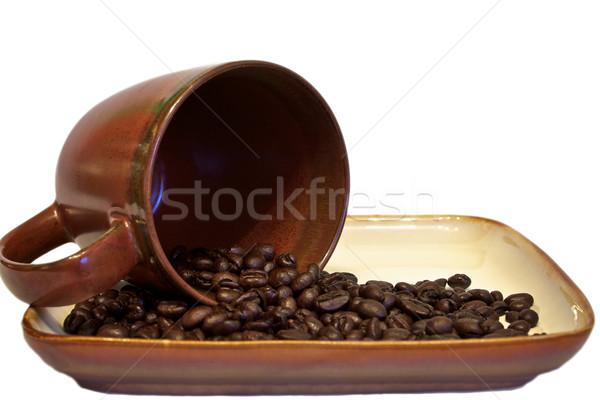 Koffiebonen beker drinken cafe zwarte donkere Stockfoto © erbephoto