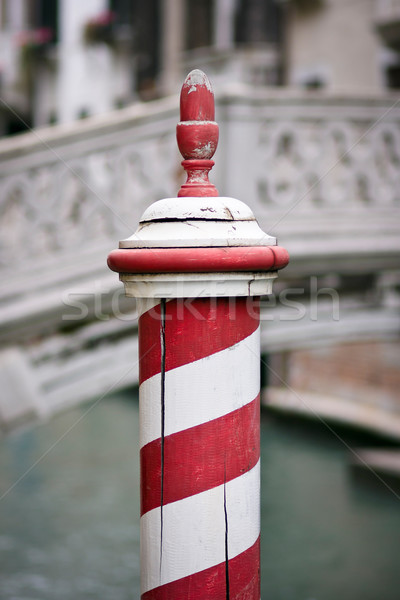 Red and white dock post in Venice Stock photo © ErickN