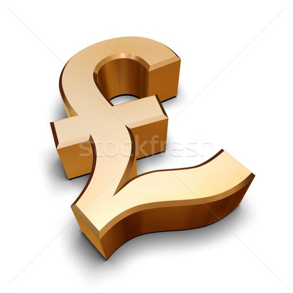 3D złoty funt symbol odizolowany biały Zdjęcia stock © ErickN
