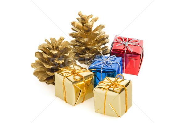 Stockfoto: Pine · geschenken · gouden · christmas · familie · partij