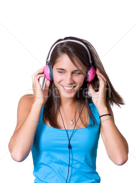 Cute młoda kobieta słuchawki taniec muzyki dziewczyna Zdjęcia stock © ErickN