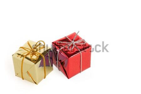 Noël coffrets cadeaux brillant peu anniversaire famille Photo stock © ErickN