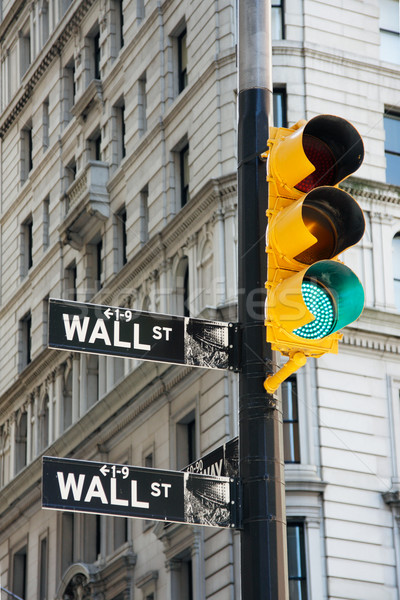 Wall Street signes feux de circulation New York City USA rue Photo stock © ErickN