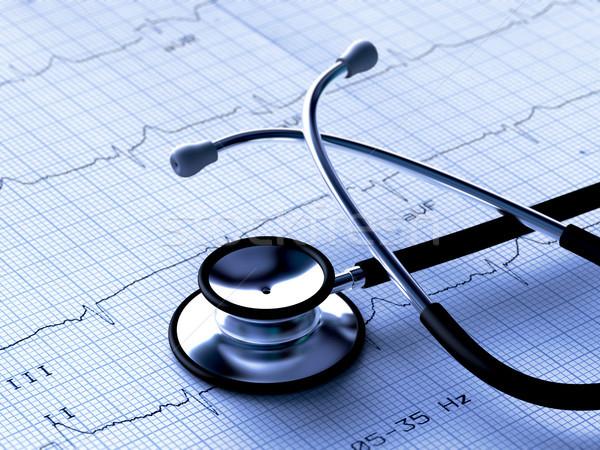 Noir stéthoscope électrocardiogramme rendu 3d médecin Photo stock © ErickN