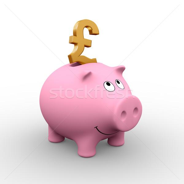 Brytyjski banku piggy złoty funt różowy 3D Zdjęcia stock © ErickN
