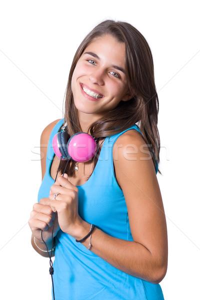 молодые наушники девушки синий Сток-фото © ErickN