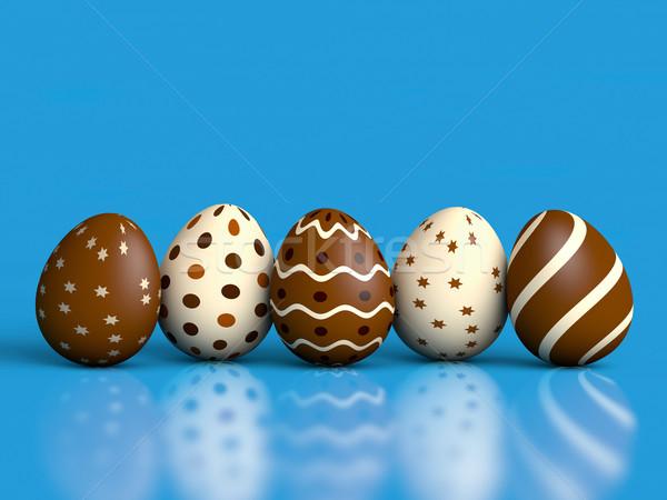 Easter Eggs niebieski czekolady refleksji kopia przestrzeń 3d Zdjęcia stock © ErickN