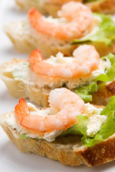 Garnalen salade knoflook kaas Stockfoto © ErickN
