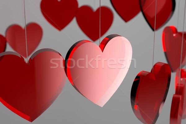 3D czerwony serca walentynki 3d miłości Zdjęcia stock © ErickN