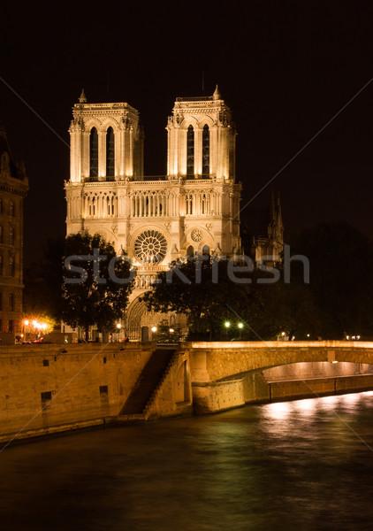 Cathédrale nuit Paris France église Voyage Photo stock © ErickN