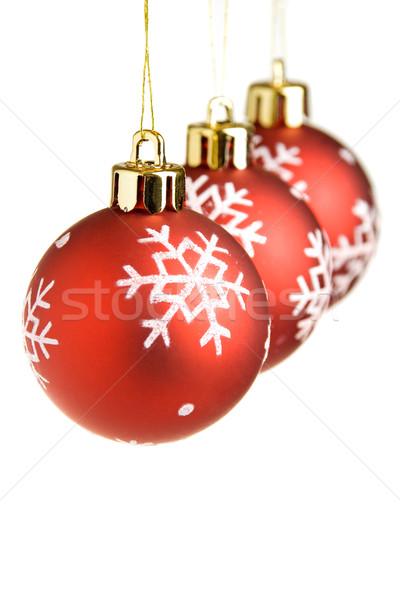 Czerwony christmas trzy rząd płytki Zdjęcia stock © ErickN