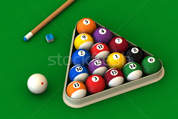Billiard set on green Stock photo © ErickN