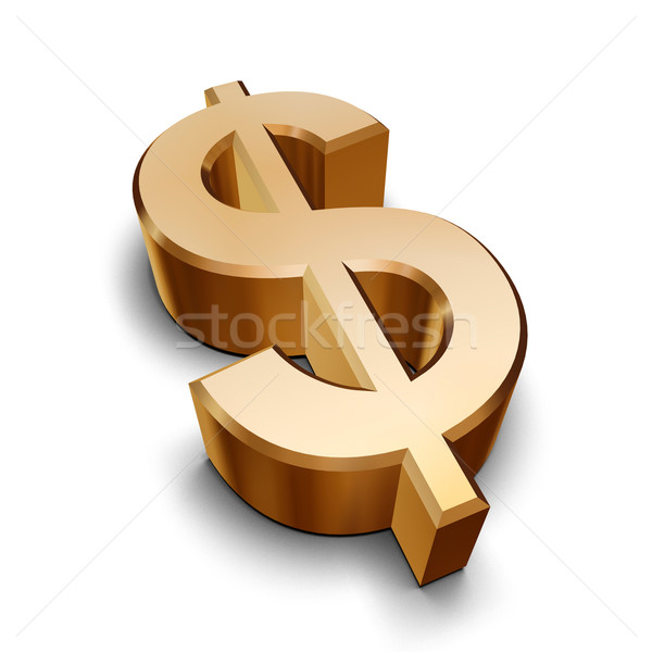 3D or dollar symbole isolé blanche Photo stock © ErickN