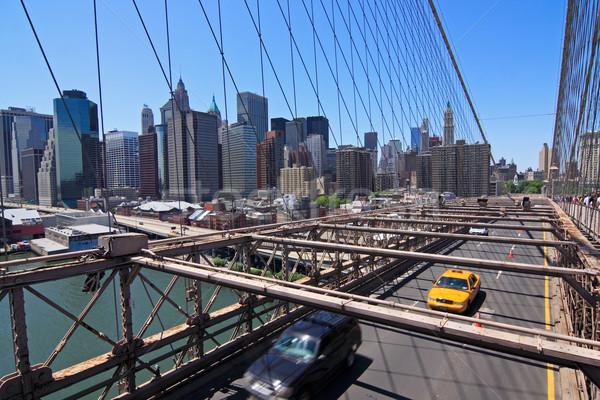 Сток-фото: Manhattan · Skyline · моста · желтый · такси · Нью-Йорк