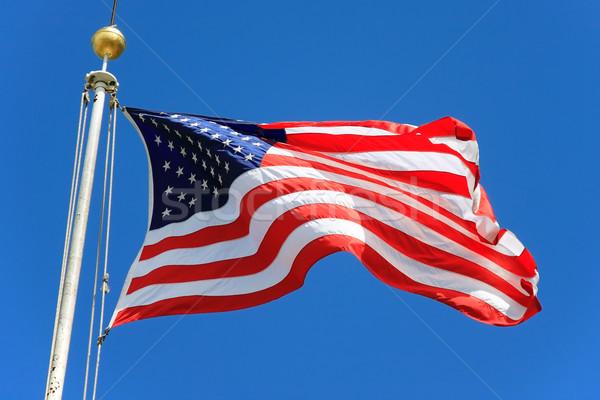Zdjęcia stock: USA · banderą · Błękitne · niebo · baterii · parku
