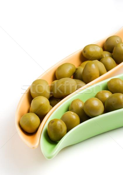 Zielone oliwek dwa elegancki żywności Zdjęcia stock © ErickN