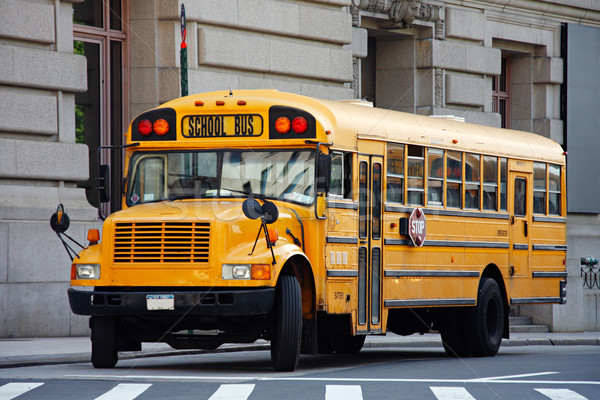 Schoolbus Geel Manhattan New York City USA stad Stockfoto © ErickN