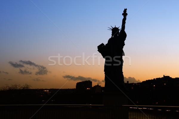 Dame liberté silhouette parisien statue Paris Photo stock © ErickN