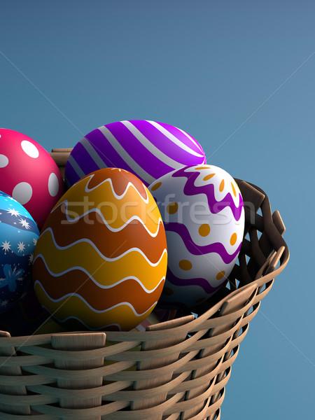 Décoré œufs de Pâques panier rendu 3d alimentaire oeuf Photo stock © ErickN