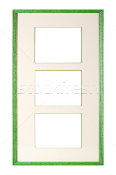 Green wooden picture frame with matte Stock photo © ErickN