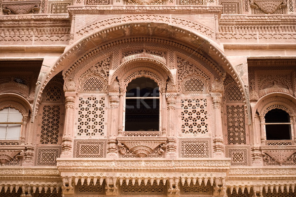 Carved sandstone window Stock photo © ErickN